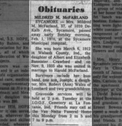 Mildred McFarland Obituary