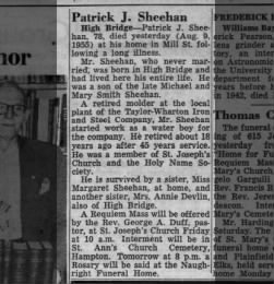 1955 - Patrick J Sheehan Obituary
