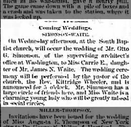 WAITE, James N. 1885.10.27 Marriage of daughter Carrie