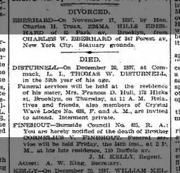Died Thomas Disturnell 22 Dec 1897