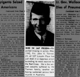 John V Tiernan, MIA May 1942, Brooklyn Daily Eagle 18 July 1943