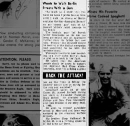 News story about Samuel Miller being wounded in Sicily in Sep 1943