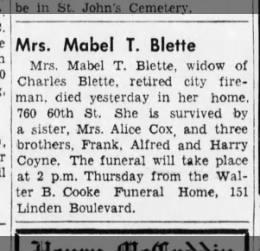 Coyne Blette Mabel T. widow of Charles ret fireman, died 10/19/1942