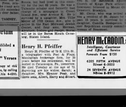 Death of Henry H Pfeiffer of 70 E 17th st 5 April 1939 Brooklynn Daily Eagle 5 Pril 1939