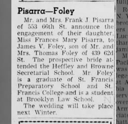 Pisarra-Foley engagement announcement, Brooklyn, 1949