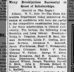 Don gets a state scholarship to go to Cornell in 1913