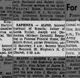 Death Notice from The Brooklyn Daily Eagle, June 26, 1953