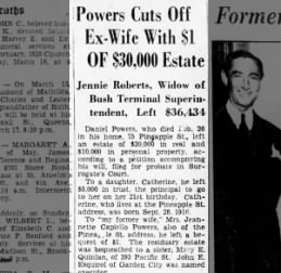 Dan Powers will to daugh cath and 1.oo to ex jeanette 3/16/1937