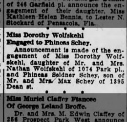 Dorothy Wolfskehl engaged,
