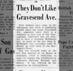 Proposal to rename Gravesend Avenue (1932)