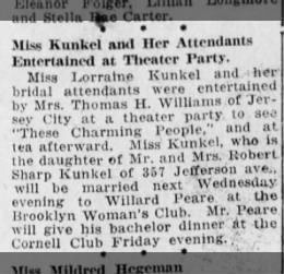 lorraine bridal party 11/12/1925