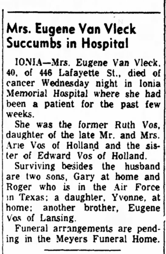 Ruth Vos Van Vleck obit Holland Eve Sent 12 Jul 1962