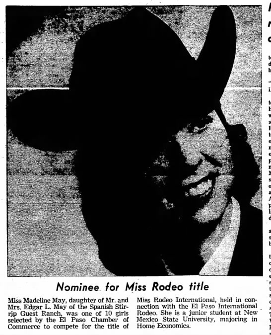 Madeline May, nominee for Miss Rodeo title Feb 1963