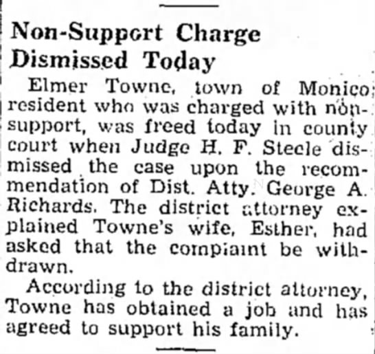 Elmer Towne charges dismissed May 1931