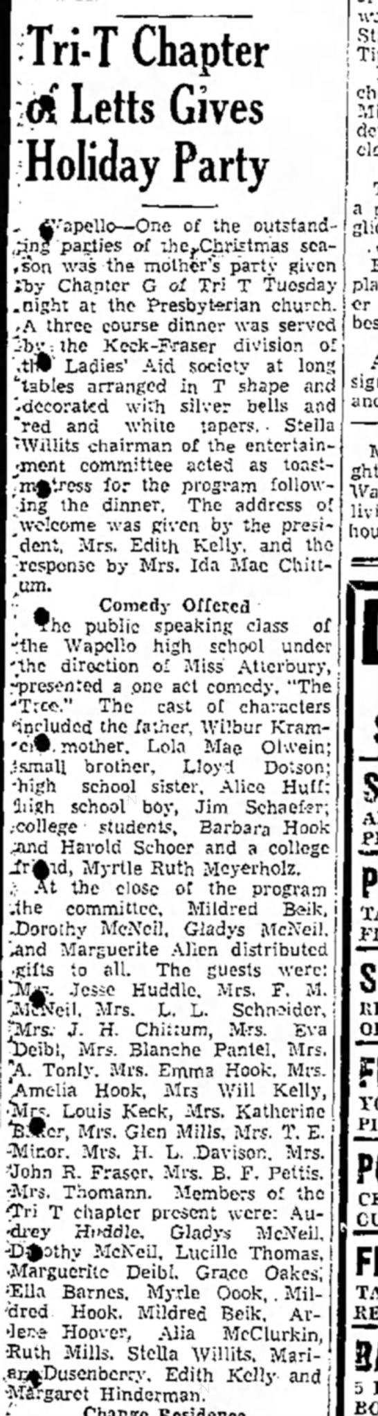 1942 Wapello The Muscatine News-Tribune 12.18.1941