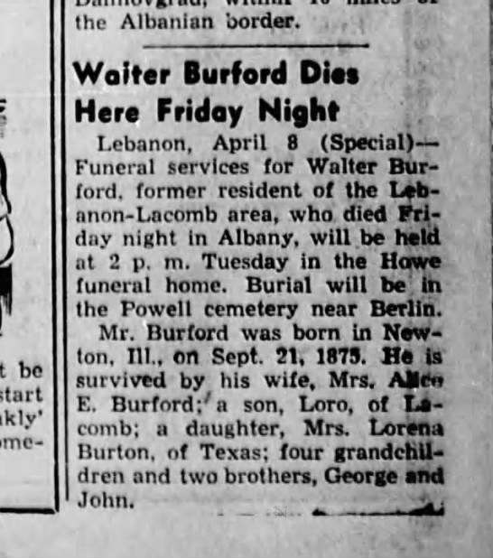 8 Apr 1944 Walter Burford Dies here tonight