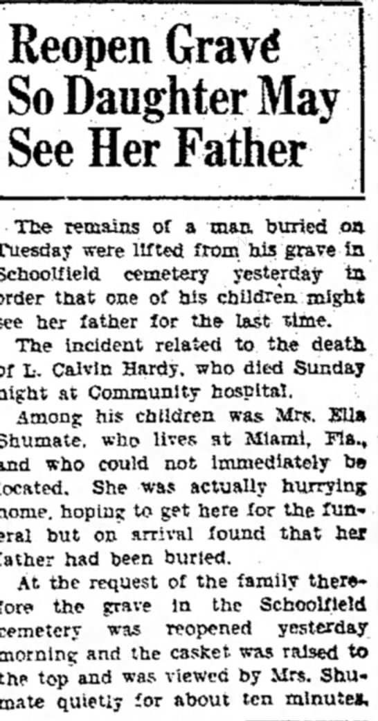 Calvin Hardy Reopens Grave
