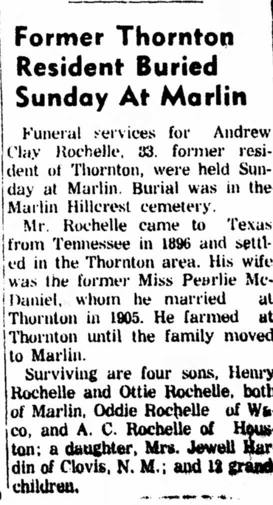 Andrew Clay Rochelle Obit