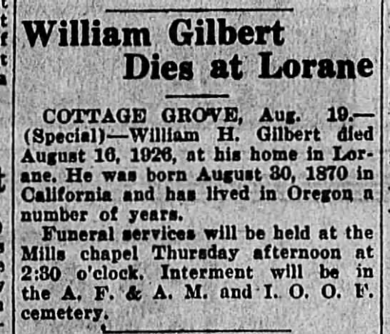William Henry Gilbert Obit