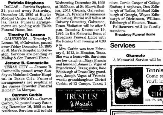 Galveston Daily News   18 Dec  1995 Carmen's obit