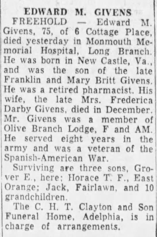 Edward M. Givens death notice, Asbury Park Press, 8 Feb 1956