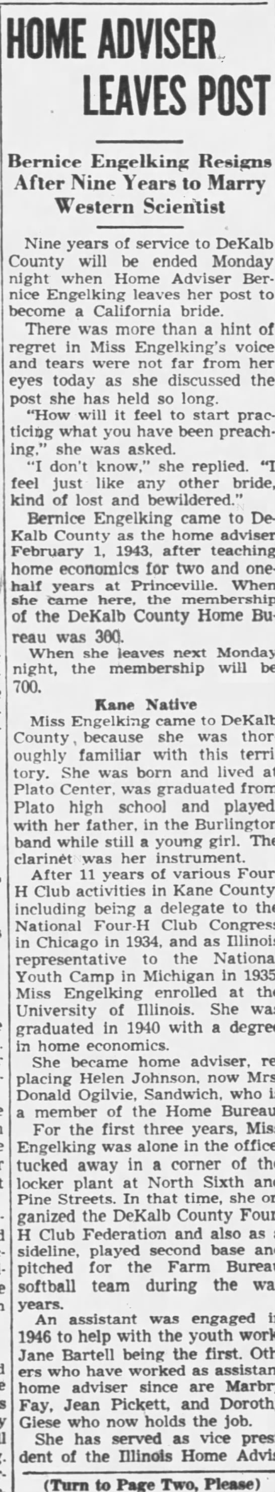 Re CARYL HAYES' Mother The Daily Chronicle, De Kalb, IL March 27, 1952