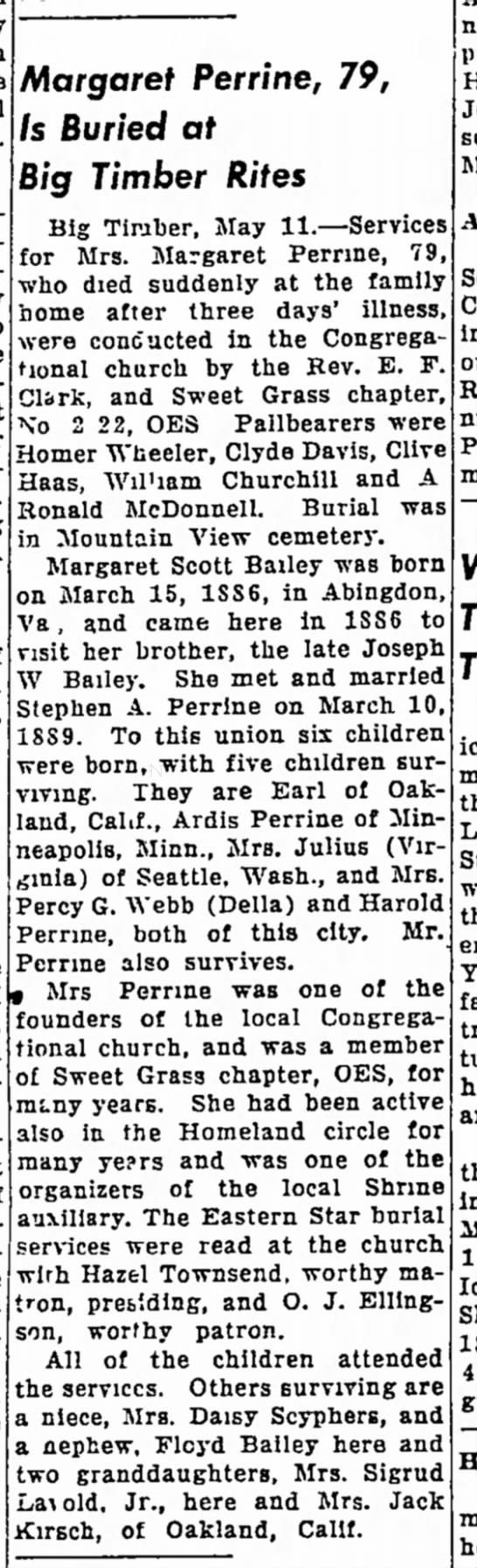 Margaret Scott (BAILEY) PERRINE obituary, 1946, Big Timber, MT.