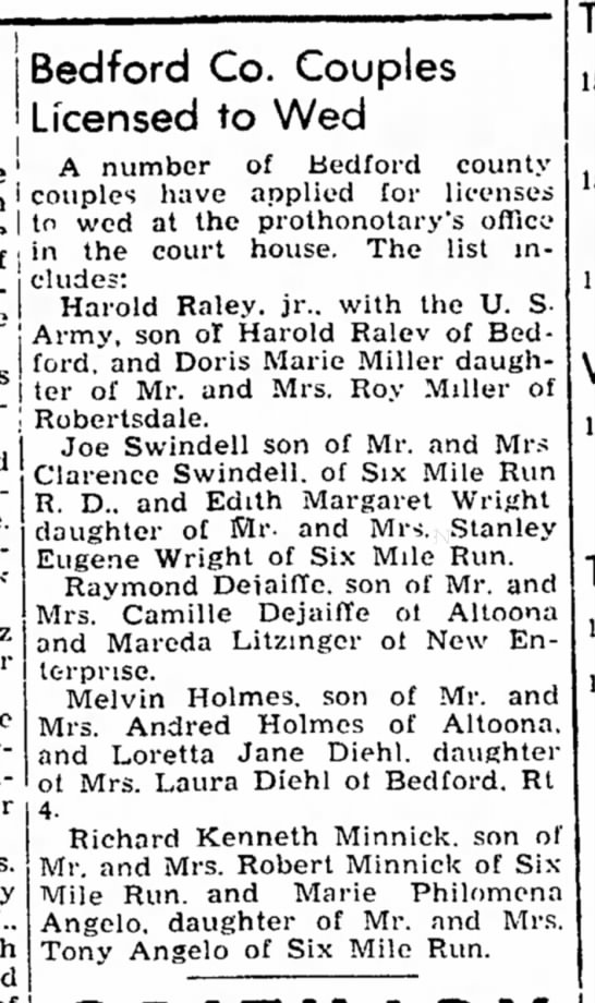 Richard Minnick-Marie Angelo-Bedford Gazette-p.3-15 May 1951