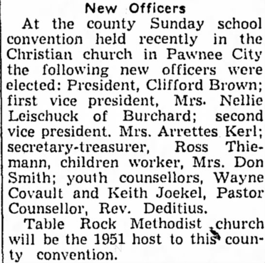 Kerl, Arrettes Church 9 Nov 1950 Beatrice Daily Sun