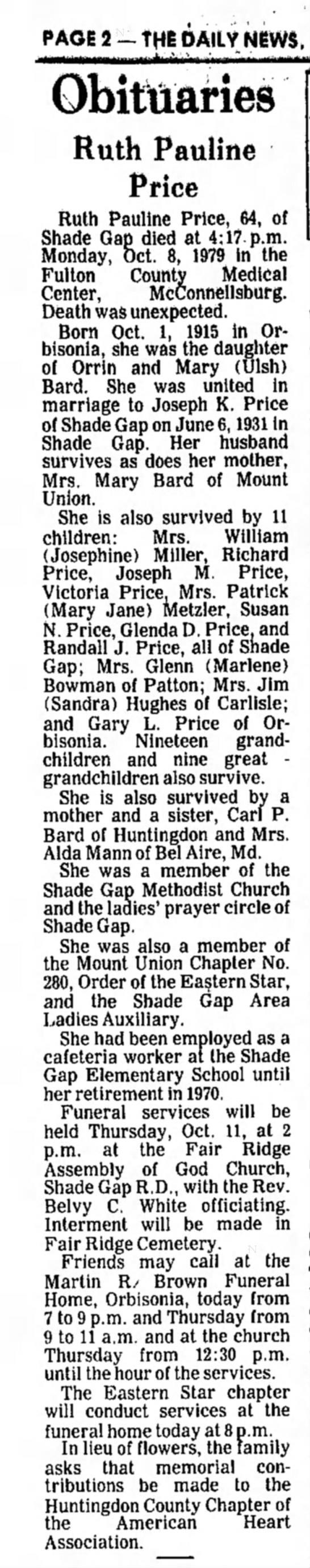 Ruth Pauline Price-obit-TDN-p.2-10 Oct 1979