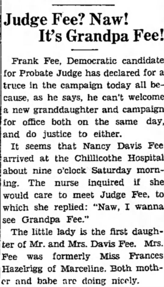 Nov 3, 1934 Nancy Davis Fee Born this date as reported by The Chillicothe Constitution-Tribune