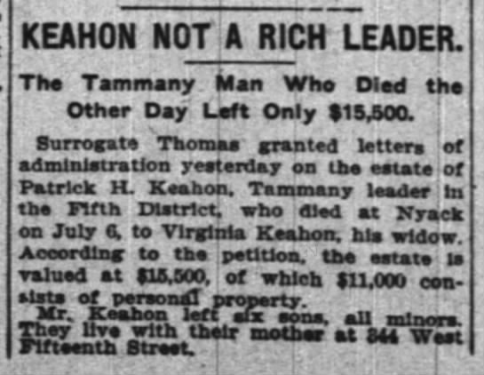estate of ph keahonjuly 13 1906 ny times