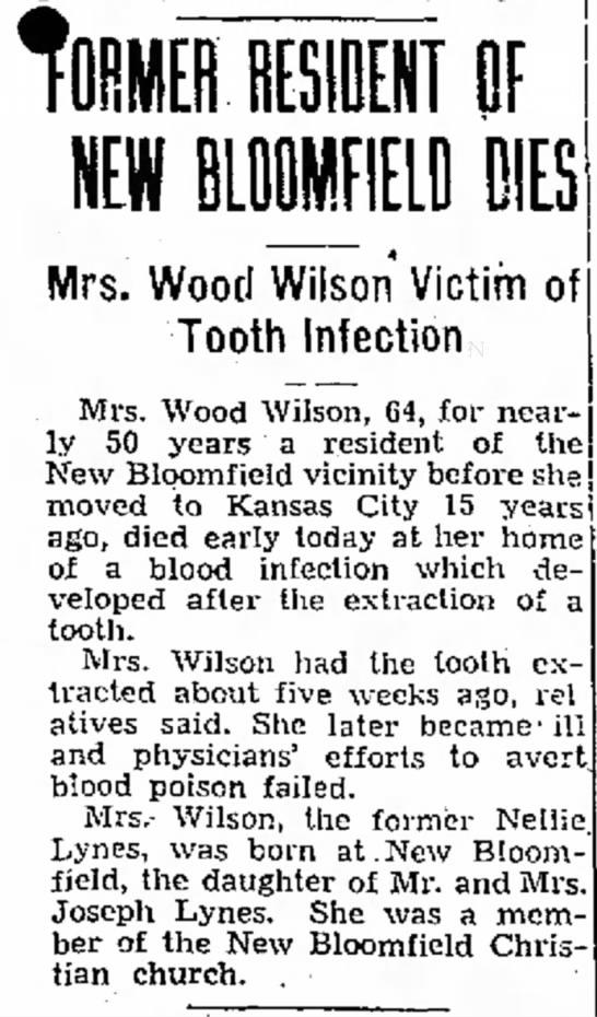 Mrs. Wood Wilson newspaper obituary