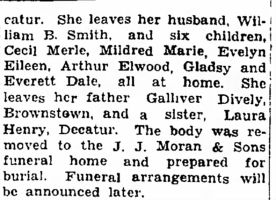 Edna Diveley Smith obit 2 1929