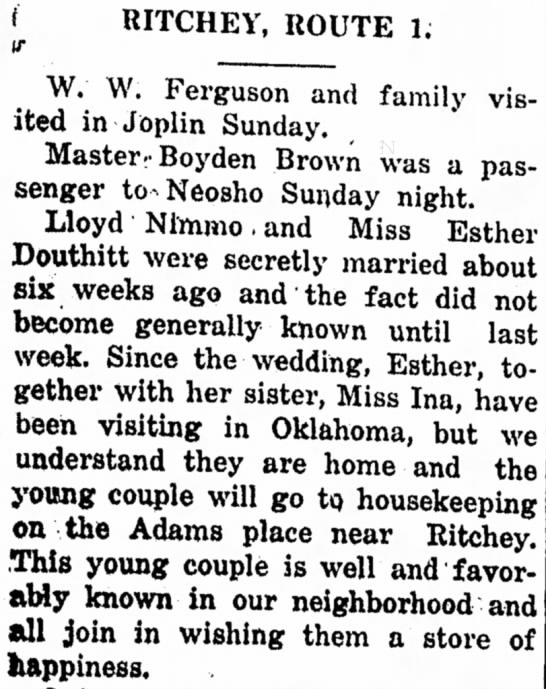 Miss Esther Douthitt marries. July 5, 1917