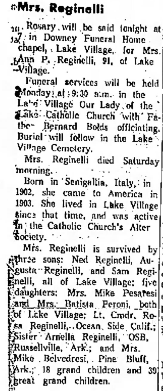Anna Polodori Reginelli Obituary Oct 1965