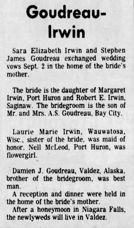 1978 goudreau-irwin marriage