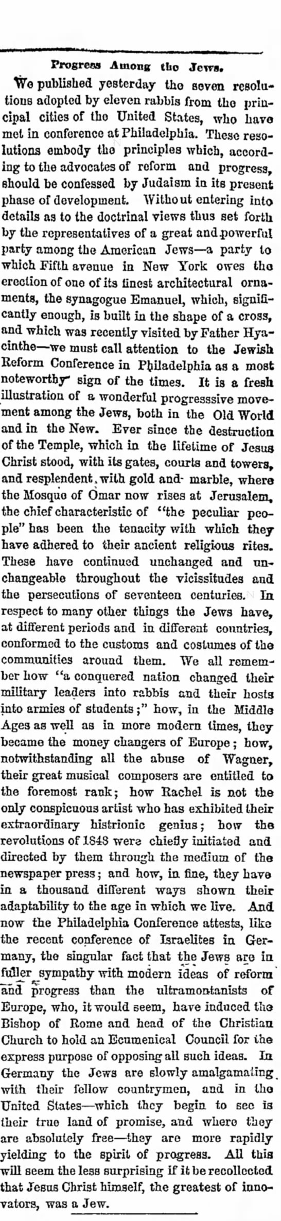1869 Article on the Jews