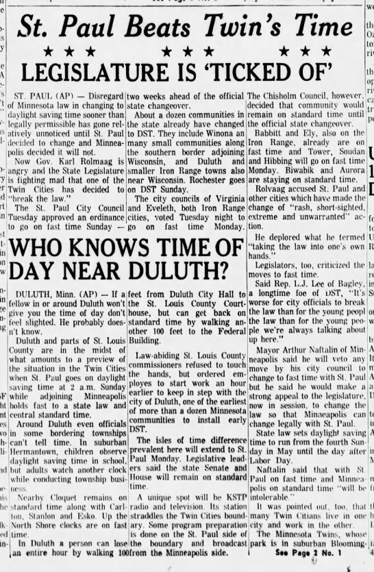 Twin cities disagree over daylight savings time, 1965