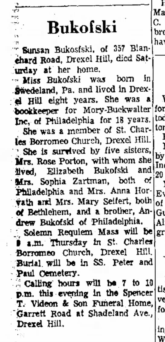 Susan Bukofski obituary 2/27/1963 Delaware County Daily Times, Chester PA