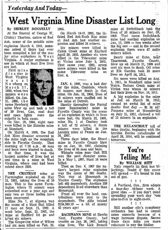 WV Mine disasters 1970