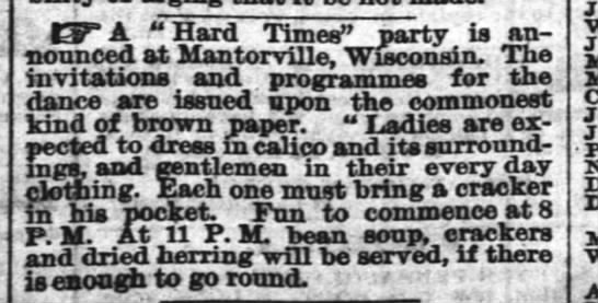 Hard Times Party in Mantorville