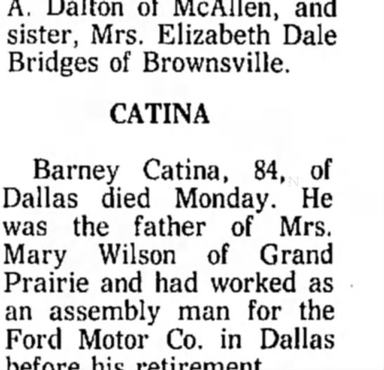 Barney Catina funeral 1975