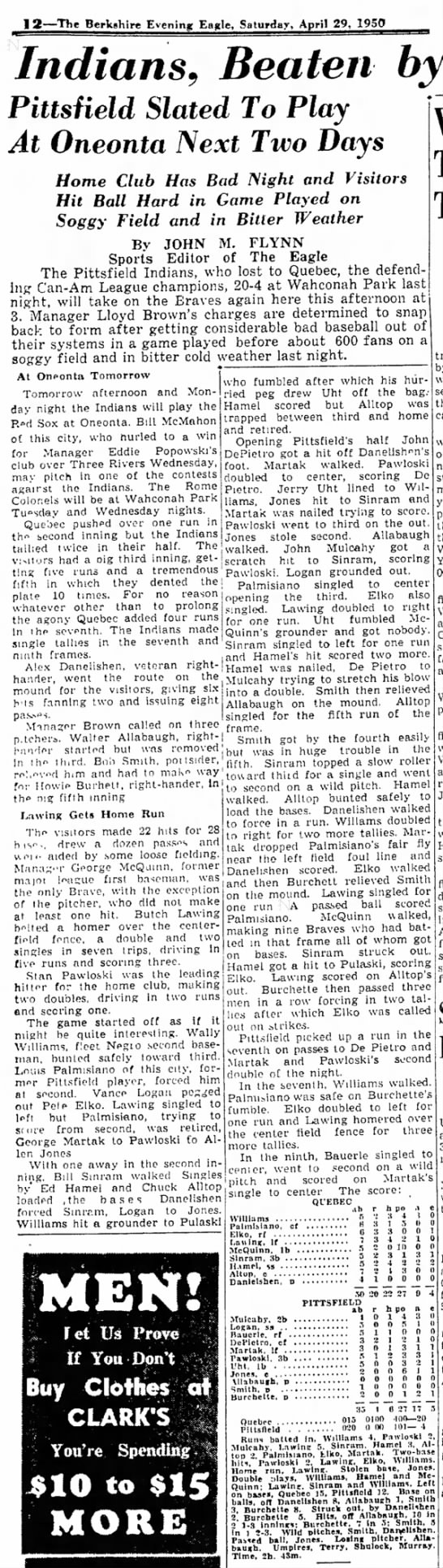 19500429 The Berkshire Eagle (Pittsfield, Massachusetts) Saturday, April 29, 1950 p12 CLIP