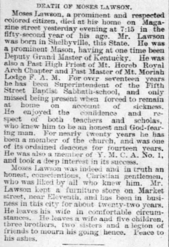 July 10 1887 Obituary for Moses Lawson