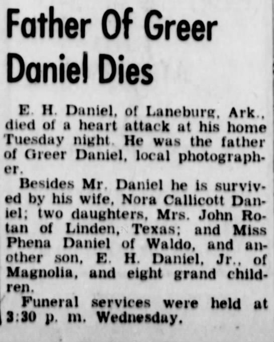Emmanuel Hugh Daniel death notice The Camden News 25 Feb 1953