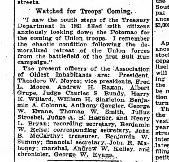 The Washington Post, 12 July 1914, Sunday, Page 10: officers of the Association of Oldest Inhabitants: treasurer, Benjamin W. Summy