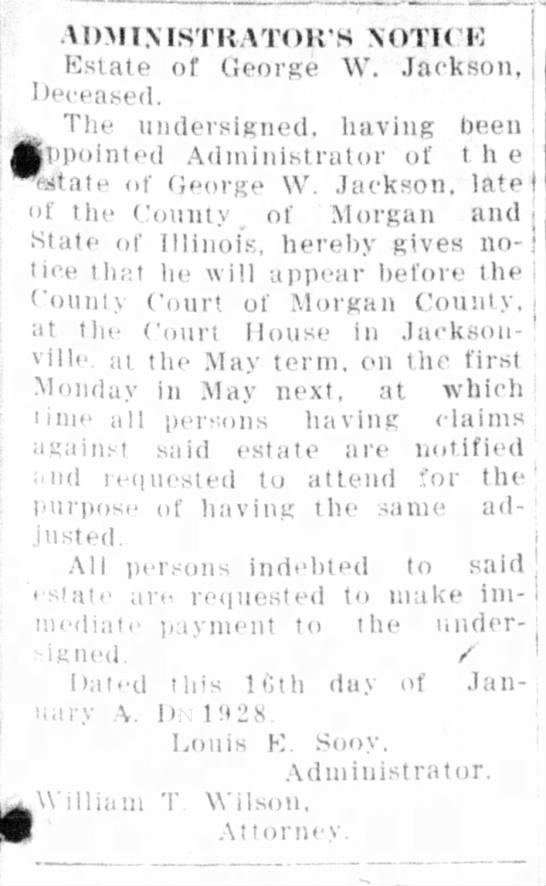 George W Jackson was brother of John  Henry Jackson, Louis Sooy was his son-in-law