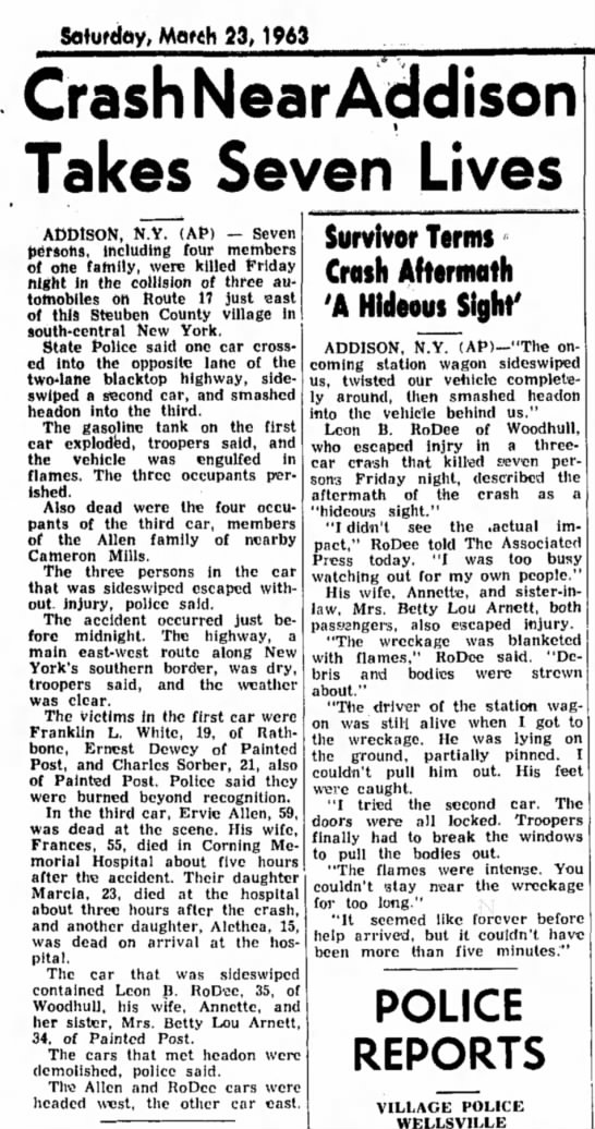 From Wellsville Daily Reporter, 23 March 1963