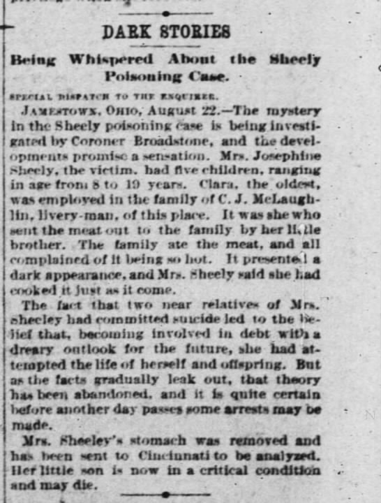 Josephine Sheely newspaper account of her death